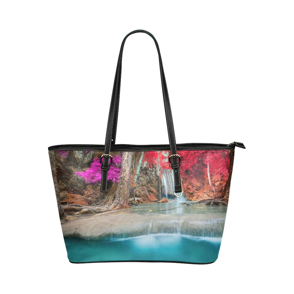 Waterfall Autumn Forest Mountain River Large Soft Leather Portable Top Handle Hand Totes Bags Causal Handbags With Zipper Shoulder Shopping Purse Luggage Organizer For Lady Girls Womens Work