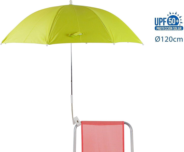 H HANSEL HOME Sombrilla para Silla Playa 120cm Protección UV - Verde