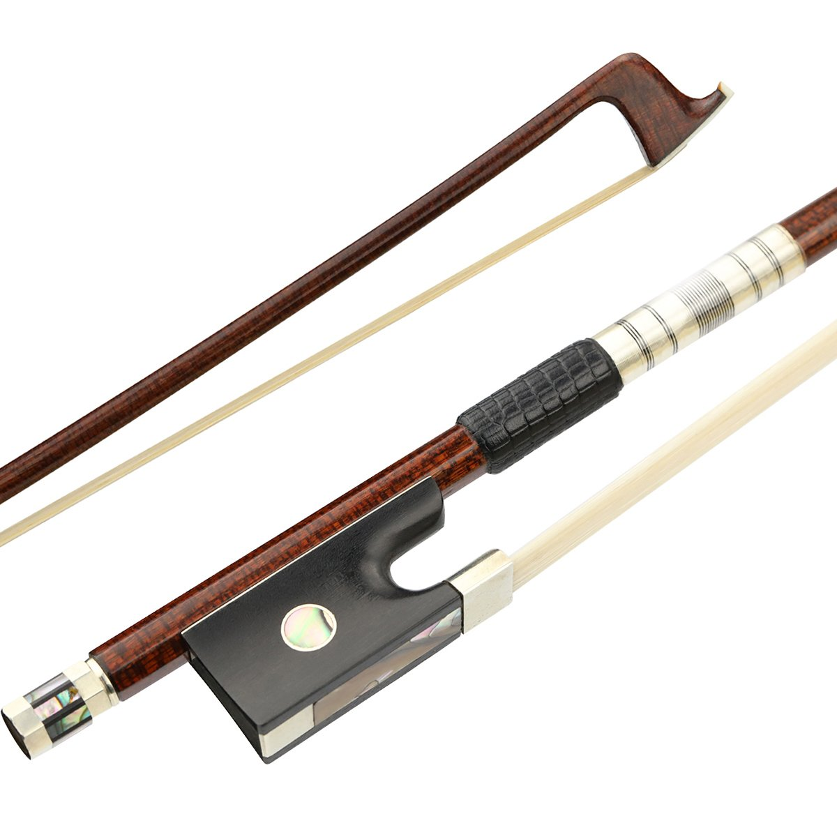 JOYHER Full Size Violin Bow with horsehair Carbon Fiber bow in 44 brown Wood grain Well Balanced