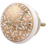 Indian-Shelf Handmade Ceramic Golden Ornamental Flower Flat Drawer/Dresser Knobs -2 Pieces