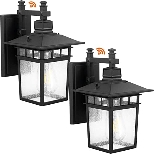 LED Outdoor Wall Lantern,Led Dusk to Dawn Wall Mount Light Fixtures,Classical Wall Lantern Lamps Lights,Black Finish