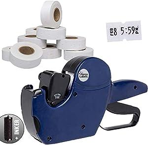 Perco 1 Line Date Label Gun Kit: Includes 8 Digits Date Gun Labeler, 10,000 Plain White Labels, and Preloaded Inker