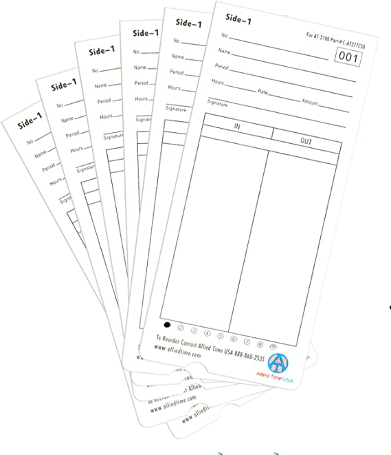 4-Packs of 50ea Genuine AT-2700 time cards