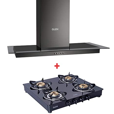 GLEN Black Kitchen Chimney 6062 60cm with 1043 GT Brass Burner Black Cooktop