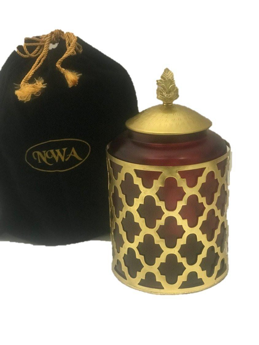 Customized Maroon Glass and Metal Cremation Urn, Memorial Urn with Bag-Personalized Medium - Holds 75 pounds