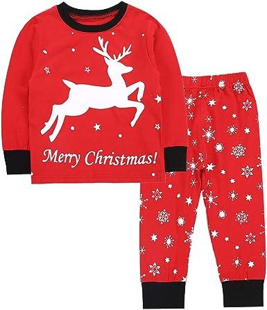 2Pcs Kids Boys Girls Christmas Xmas Elk Pajamas Sleepwear Nightwear Outfit Fancy