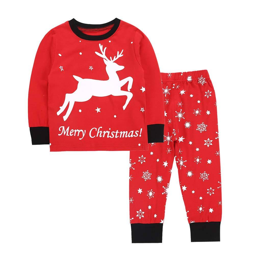 G-Real Child Kids Baby Christmas Winter Warm Deer Print Pajamas Tops+Snow Pants Print Cotton Sleepwear Outfits Set