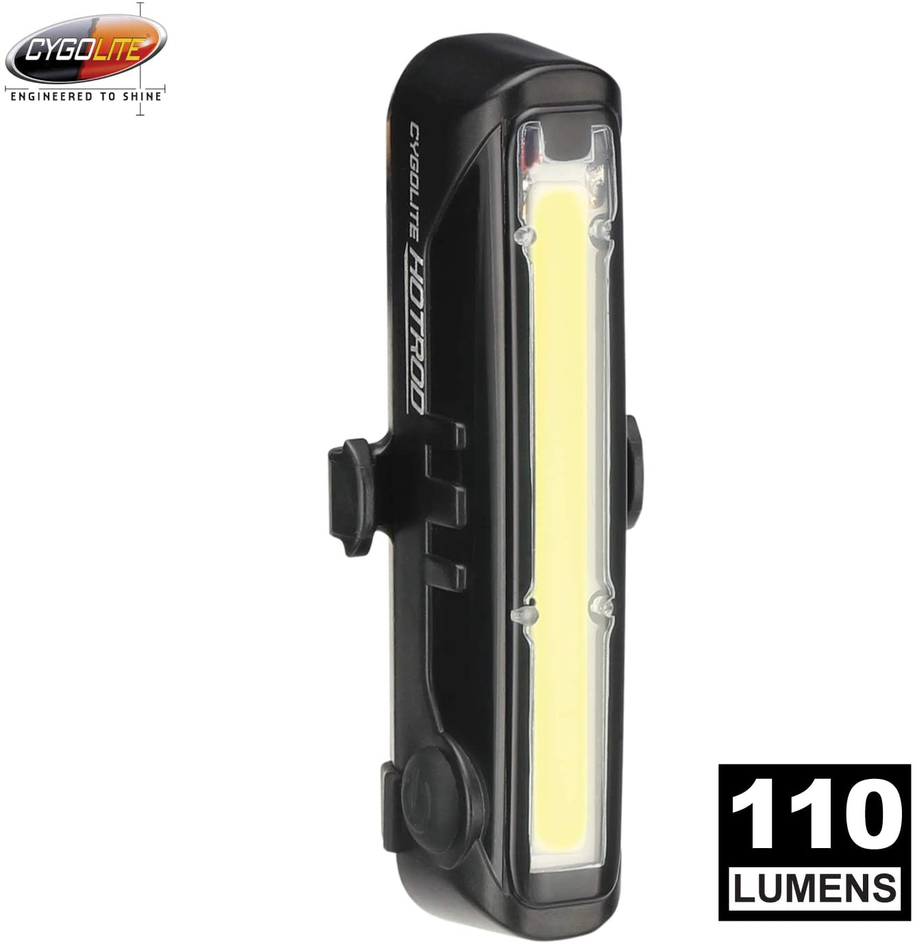 Cygolite Hotrod Front 110 Lumen Bike Light 3 Night 3 Daytime Modes Sleek Durable Design IP64 Water Resistant Sturdy Flexible Mount USB Rechargeable Front Light for Road Commuter Bicycles