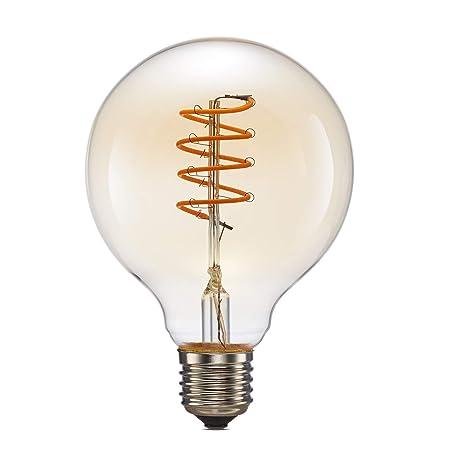 Bombilla LED de filamento, ONLT 4 W 2200 K blanco cálido G80 Retro LED globo