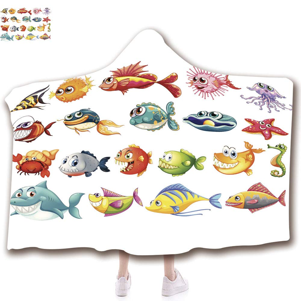 3D Printed Hooded Blanket Fashion Thick Warm Flannel Throw Blanket Kids(51' H x 59' W) Blanket with Hoodie,Fish set1