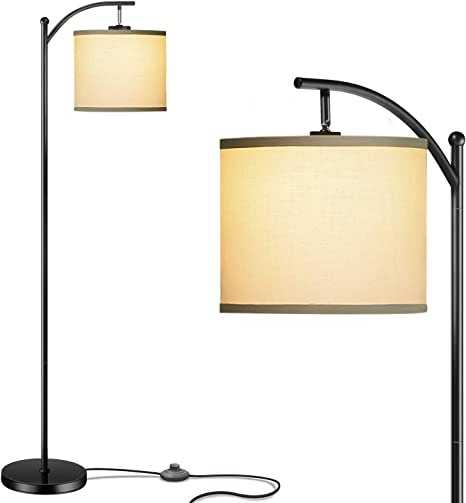 Amazon Com Addlon Floor Lamp For Living Room With Lamp Shade And 9w Led Bulb Modern Standing Lamp Floor Lamps For Bedrooms Black Home Improvement