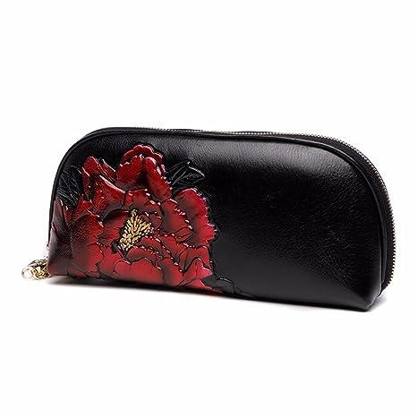Señoras bolso de cuero, nuevo pintado a mano casual bolso de mano,Claret