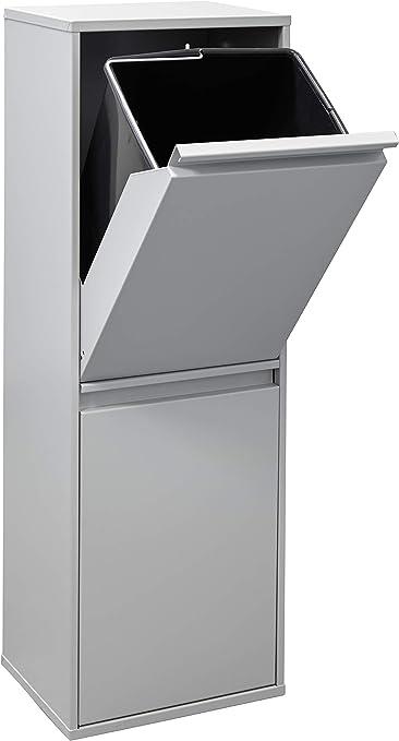 ARREGUI CR202 B Basic Stahl, Mülltrennsystem mit 2 Inneneimer, Mülleimer für die Küche, Abfallbehälter mit separater Recycling Einheit, 34 L,