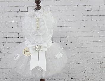 NaXinF Ropa de compañía élégants Ropa para Mascotas Encaje pedrería Falda Gato Perro para Vestido de