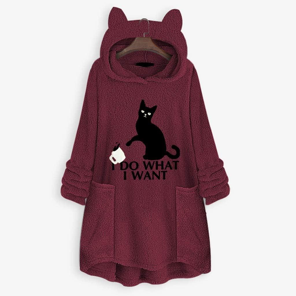 KEERADS Sweat /à Capuche Femme Pas Cher Pull en Cachemire Sweatshirt Cat Hoodies Grande Taille Veste Polaire Pullover Jacket Hiver Chaud