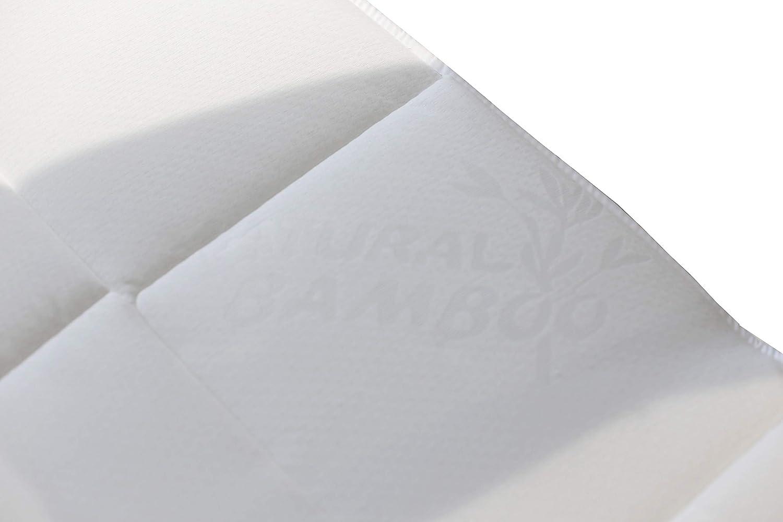 85//90 x 190//200 cm Bianco Singolo Elegant Topper Imbottito e Trapuntato Sottoposto al Trattamento Silver