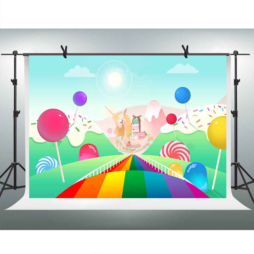 FHzON 10 x 7ft Cartoon背景Sunshineキャンディレインボーバルーン写真バックドロップ男の子女の子新生児誕生日テーマパーティー写真ブース小道具Youtube Backdrops lxfh176   B07FNHHY5Q