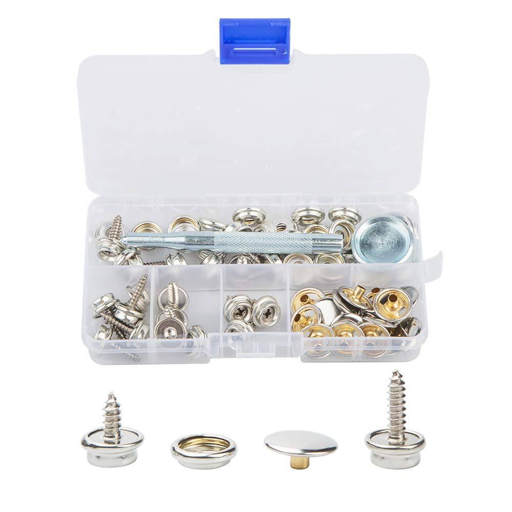 20 Sets -Silver 60 Pack Snaps Fastener Screw Kit Tool,DanziX Stainless Steel Marine Grade Canvas and Boat Cover Snap Button with 2 Pack Setting Tool