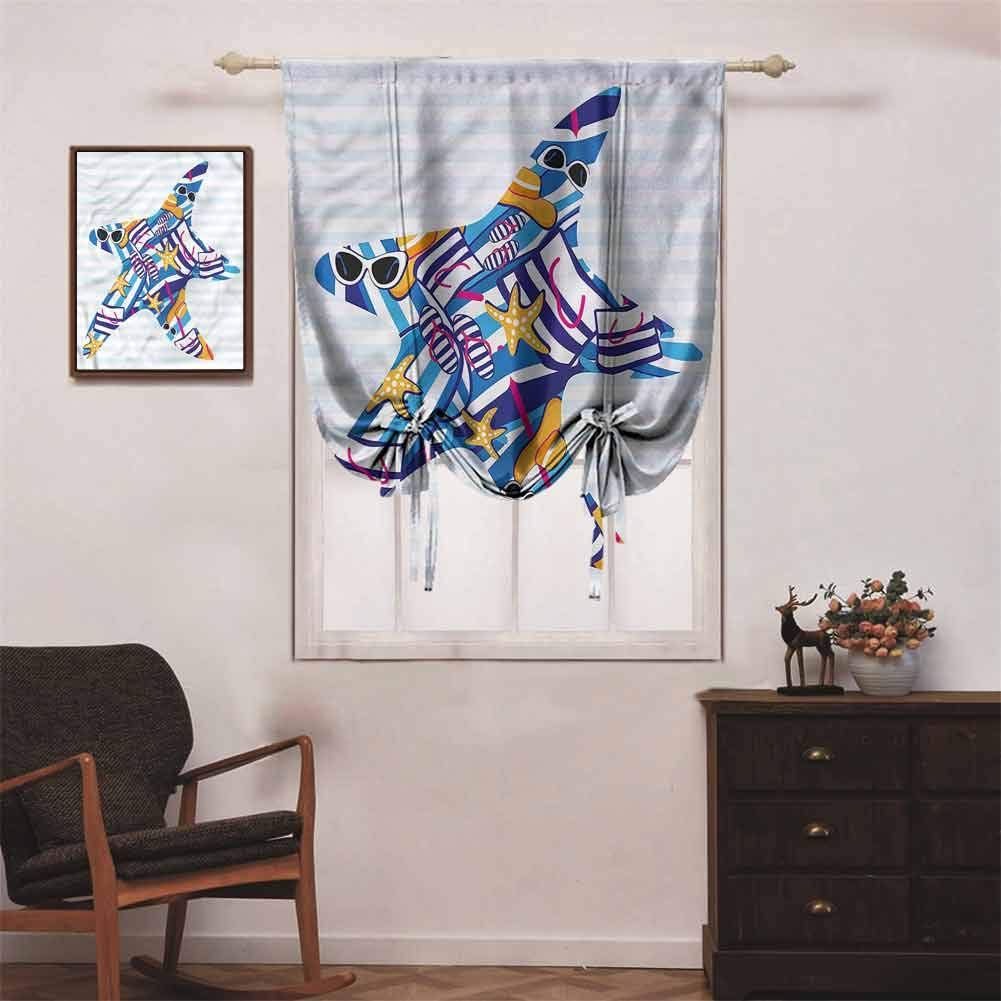 PGREA Blackout Roman Shades for Bedroom Safari Hand-Drawn Animals Wildlife Black Out Tie Up Curtains W32 xL72