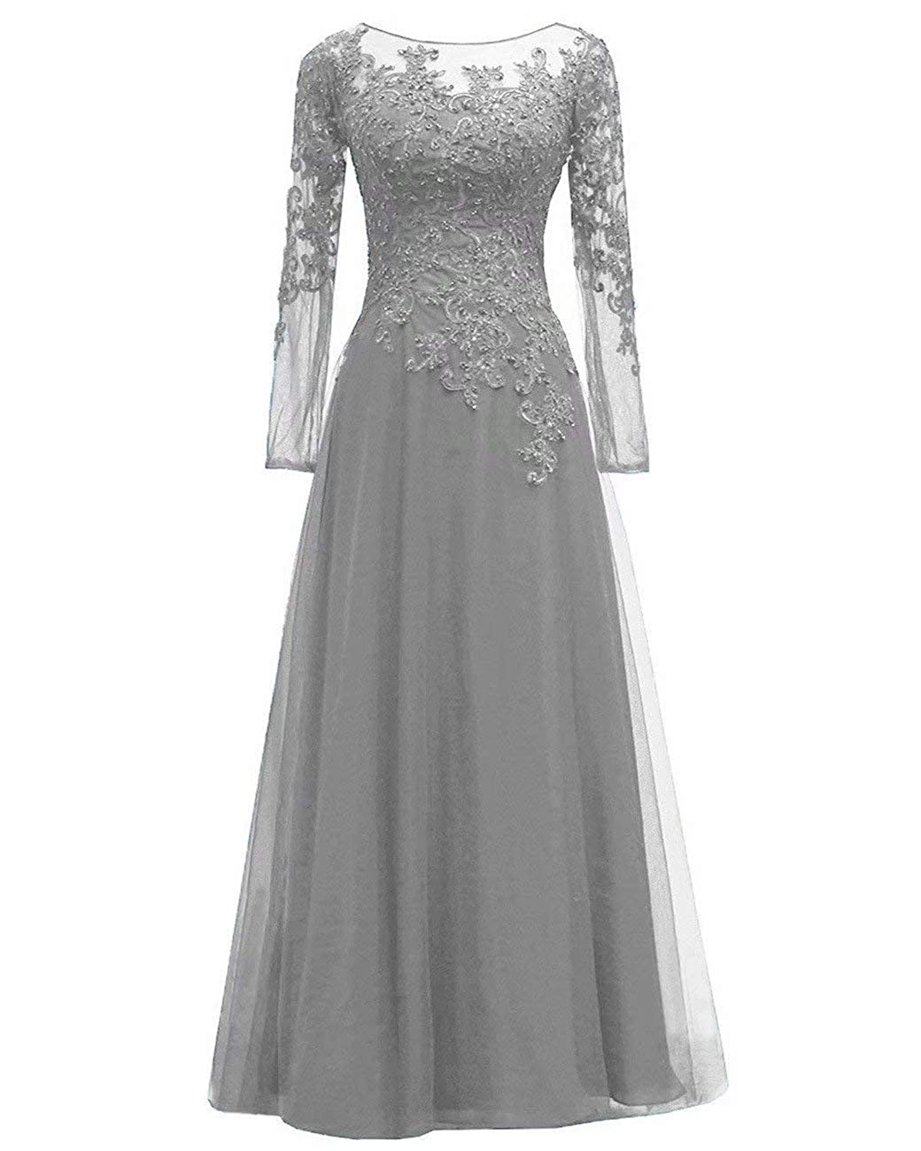 Silver LORIE Women's Beaded Appliques Tulle Mother of The Bride Dress Long Sleeves Formal Evening Gown