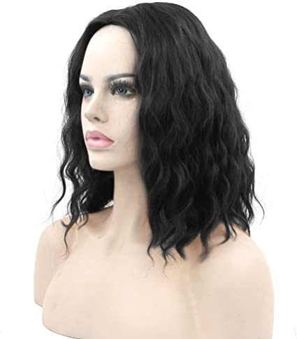 Black curly wavy straight short long fancy dress halloween party perruque