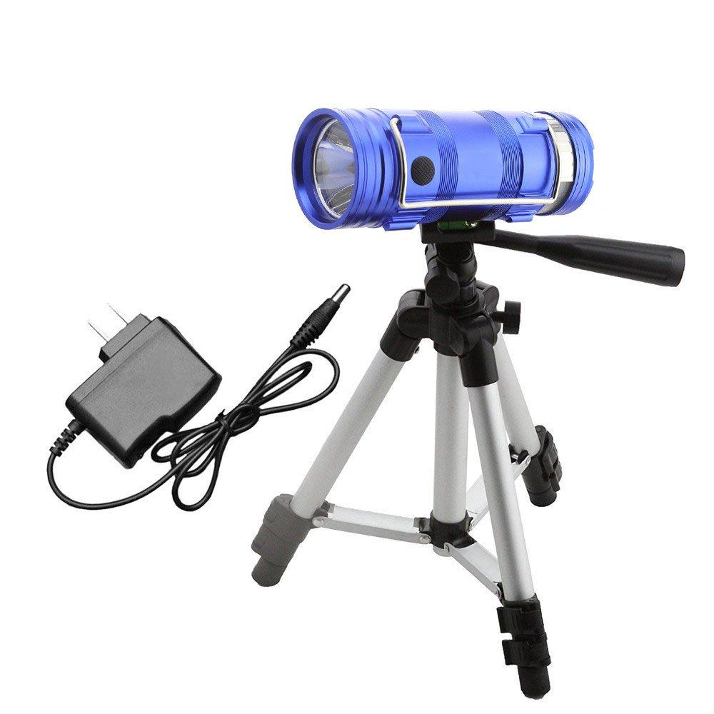 Jodie Bernol Torcia LED Lanterna da Campeggio Blu Bianco Torcia Lampada da Pesca Doppia Lampada Sorgente Luminosa Luce da Pesca Ricaricabile per Uso Domestico Campeggio, all'aperto, Torcia elettrica