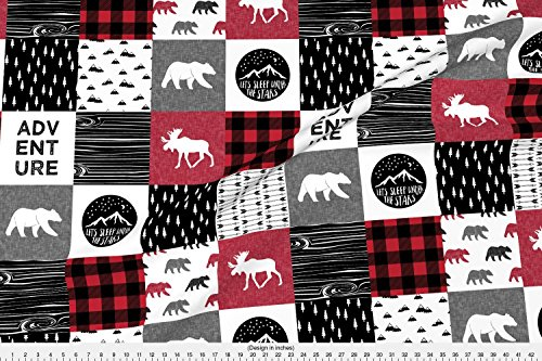 Fabric Home Decor Plaid (Patchwork Fabric Happy Camper Buffalo Plaid || Woodland Patchwork Wholecloth by Littlearrowdesign Printed on Minky Fabric by the Yard by Spoonflower)