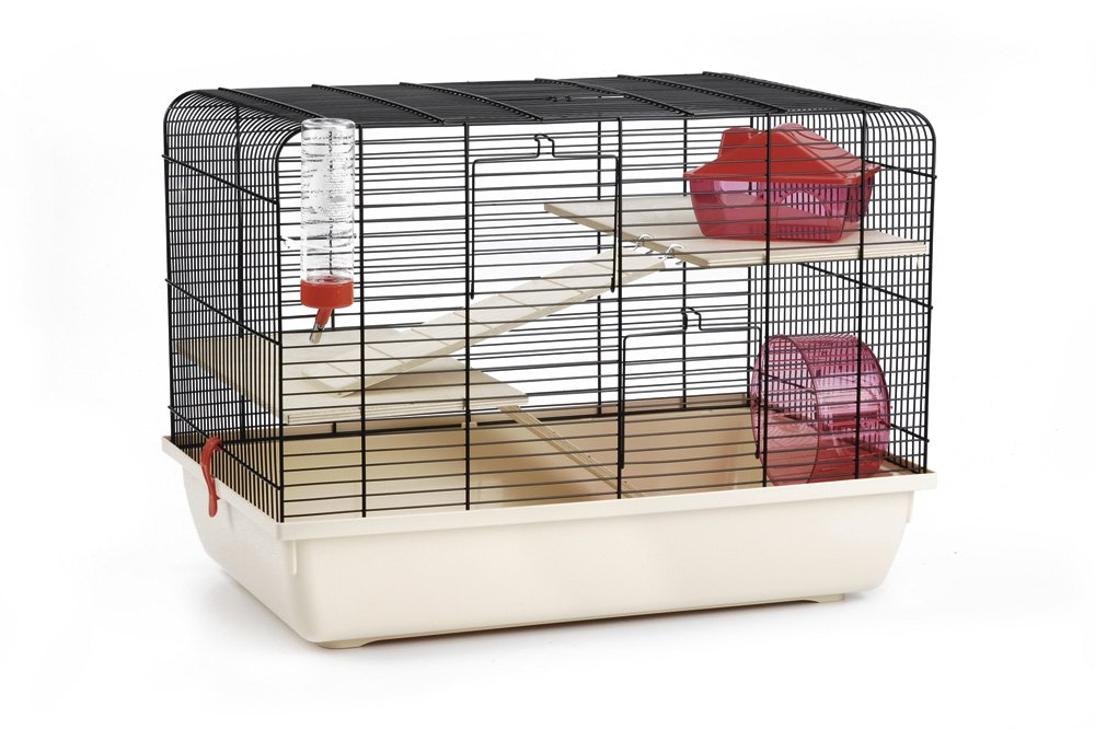 Black  Beige 59 x 38 x 43 cm Black  Beige 59 x 38 x 43 cm Beeztees Rodent Cage Rex 2, 59 x 38 x 43 cm, Black Beige