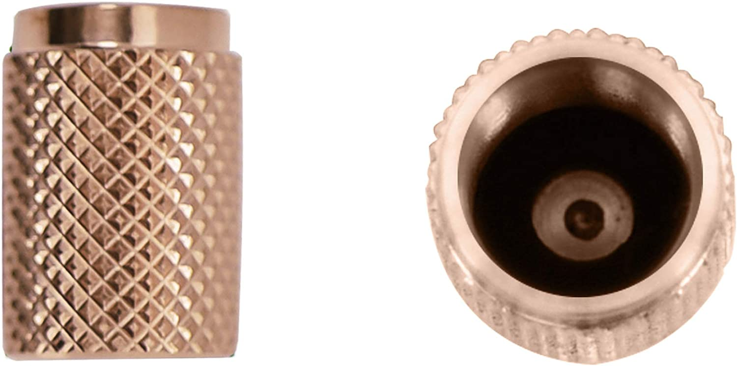 Heavy-Duty Airtight Seal 2 Pairs Screw-On Textured Design Divoti Precision CNC Machined Stainless Steel Tire Air Valve Caps Dust-Proof Gold Wheel Tyre Stem Covers for Cars