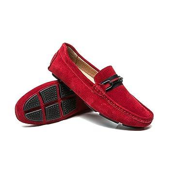 Zapatos de Hombre Mocasines y Slip-Ons de Gamuza Zapatos de Confort/Conducción Primavera/Otoño/Invierno Hombres Calzado Diario Diario/Viaje (Color : Rojo, ...