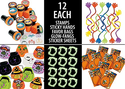 Halloween Hand Projects (60 Piece Halloween Fun Toy Set Includes: (12) Halloween Stamps (12) Glow in The Dark Fangs (12) Sticky Hands (12) Make A Pumpkin Craft Stickers & (12) Halloween Draw String)