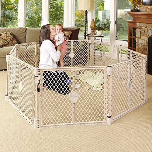 North States Superyard Indoor-Outdoor 8-Panel Play Yard: Safe play area anywhere - Folds with carrying strap for easy travel. Freestanding. 34.4 sq. ft. enclosure (26