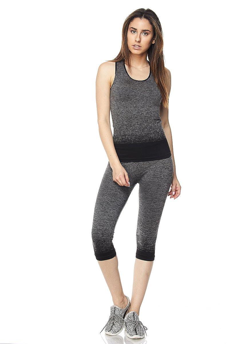 6ed990cd6a New Mix By Muskoka Marled Ombre Capri Activewear Set (Black): Amazon.ca:  Clothing & Accessories