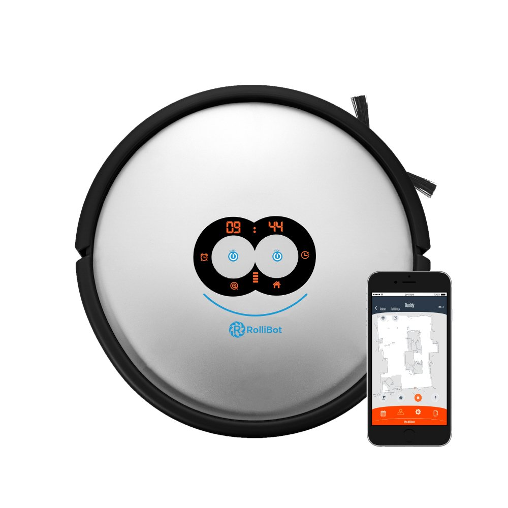 RolliBot LE-600 APP Shows Cleaning Results - LASEREYE Robot Vacuum, Sees Surroundings, Resumes After Recharge, 100% Clean Floor, Orange