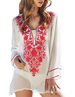 3171891c1e Sanifer Women s Long Sleeve Beach Cover Up Dress Embroidered Bohemian  Beachwear Bathing Suits Cover Ups (