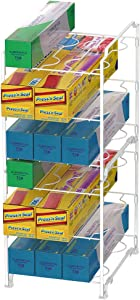3-Tier Kitchen Wrap Organizer Rack,Stackable Kitchen Cabinet and Counter Shelf Organizer for Food Wrap, Foil, Wax Parchment Paper (2 PACK,White)