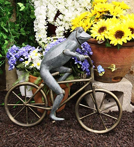 Ebros Gift 26.75″ Tall Aluminum Metal Whimsical The Expedition Bicycling Frog