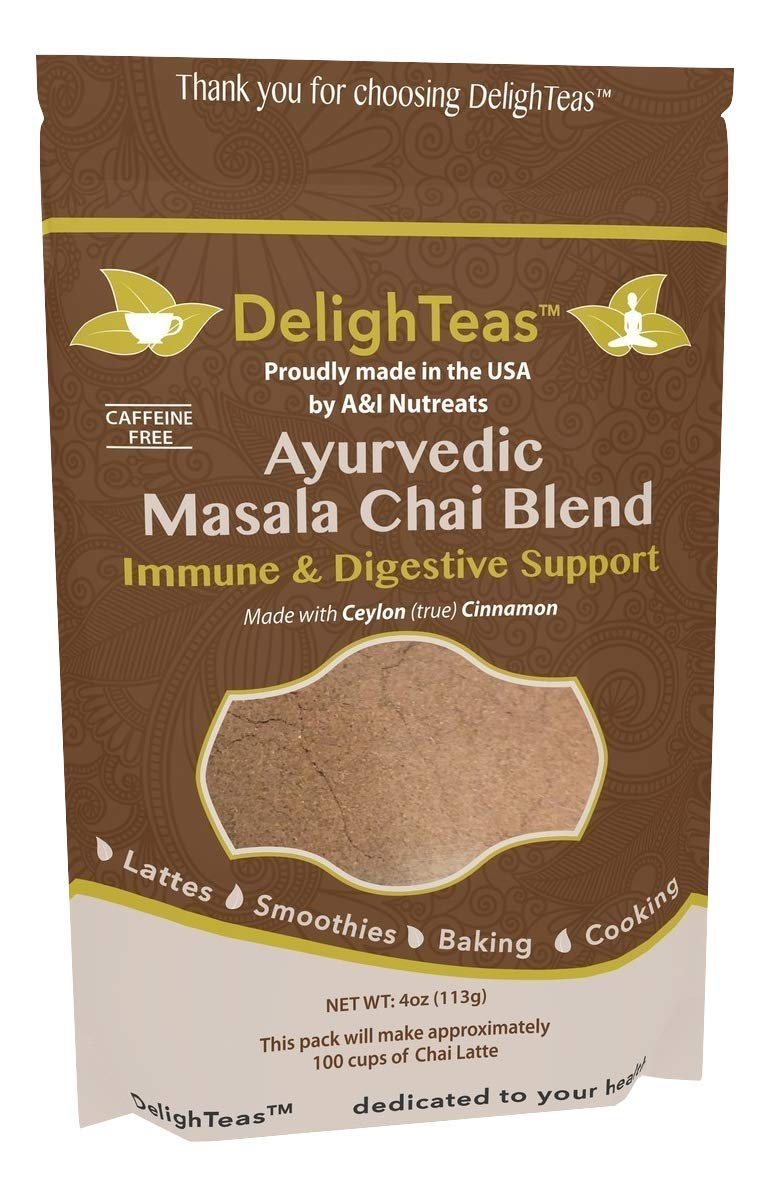 Ayurvedic Organic Masala Chai powder; No added sugar or sweetener; 4oz (100 Servings) - Caffeine free - Made with Ceylon (true) Cinnamon - Great for Vegan Lattes and Smoothies by A&I Nutreats