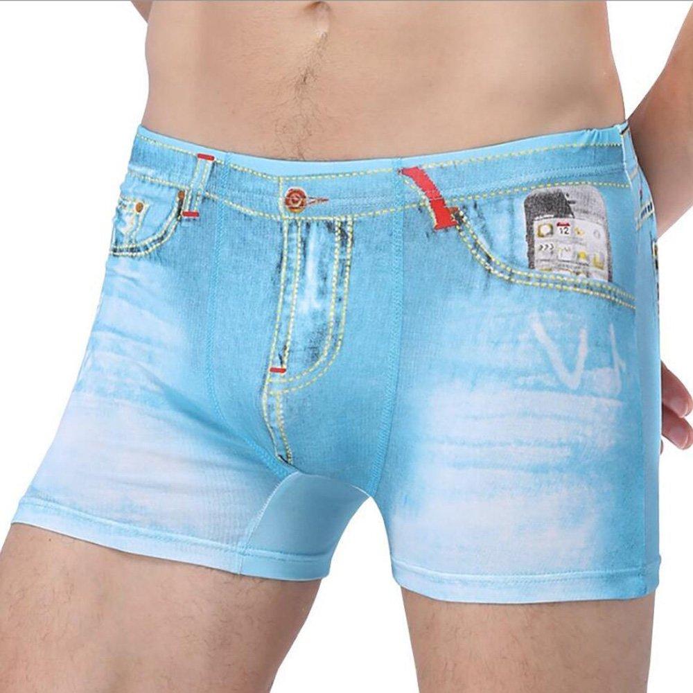 Men 3D Printed Faux Denim Cowboy Briefs Underpants Bulge Pouch Shorts Panties