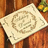 Susie85Electra Vintage Wood Wedding Guest Book Personalized with Engraved Wreath,Wedding Guest Book Alternative,Rustic Wedding Albums