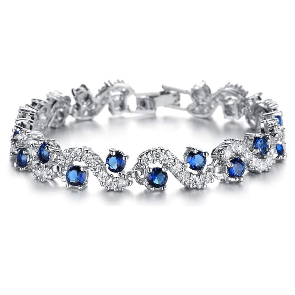 Feraco Blue Tennis Bracelet Women Cubic Zirconia Sapphire Jewelry Bridal Crystal Bangle Mom Daughter,6.69 inch