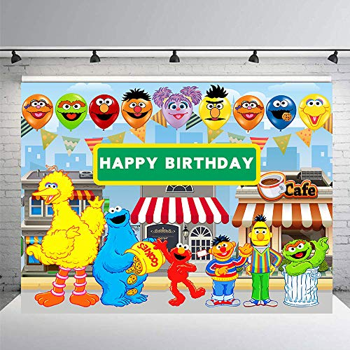 Sesame Street Photography Backdrops Boy Girl Birthday Party Theme Photo Booth Background Baby Shower Banner Decoration Supplies