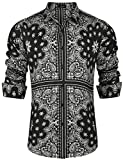JINIDU Mens Paisley Shirts Long Sleeve Loose Fit Hip Hop Print Casual Button Down Shirt