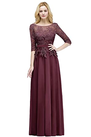 MisShow Women s Burgundy Lace Applique Evening Prom Dresses Formal Gowns  Size 2 7e402ccc4ef5