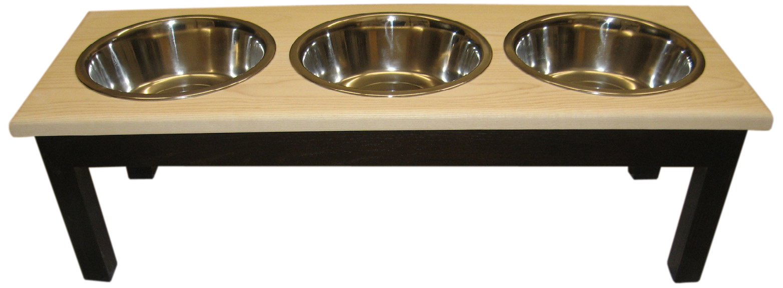 Classic Pet Beds 3-Bowl Traditional Style Ash Pet Diner, Small, Espresso/Natural