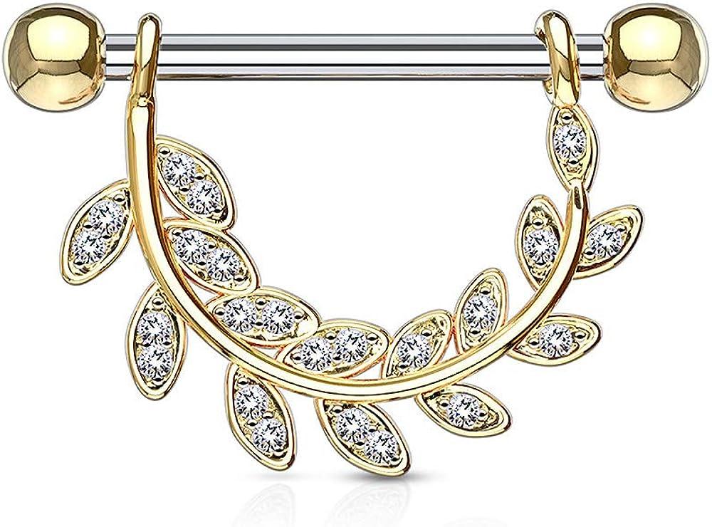 Steel PAIR Gem Paved Leaf Dangle Nipple Rings Shields Gold or Rose Gold