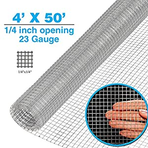 Clevr 4' x 50' 1/4 inch 23 gauge Mesh Welded Wire Hot-dipped Galvanized Hardware Cloth Gutter Guards Plant Supports Poultry Enclosure Chicken Run Fence Indoor Rabbit Pen Cage Wire Window Doors