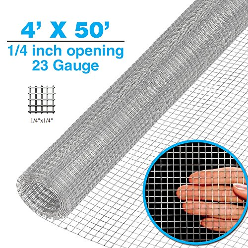 - Clevr 4' x 50' 1/4 inch 23 gauge Mesh Welded Wire Hot-dipped Galvanized Hardware Cloth Gutter Guards Plant Supports Poultry Enclosure Chicken Run Fence Indoor Rabbit Pen Cage Wire Window Doors