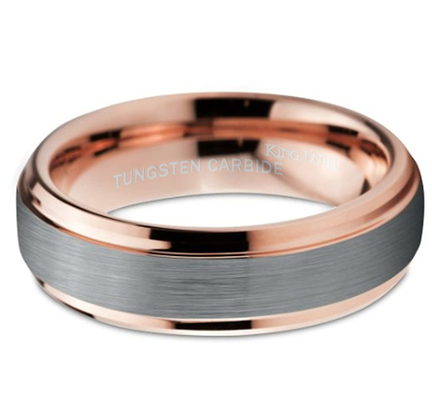 king will duo uni 6mm 18k rose gold plated tungsten carbide