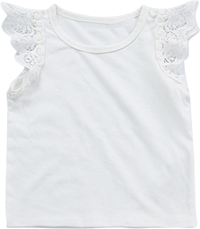 Baby Girls Ruffle Lace Sleeveless Tank Tops Basic Organic Tees T-Shirts